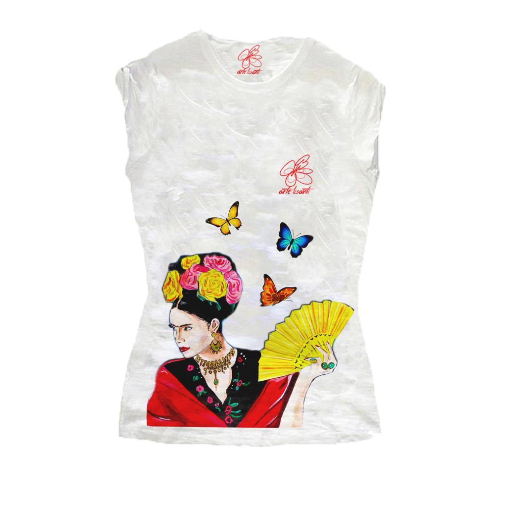 T-shirt dipinta a mano - Omaggio a Frida Kahlo
