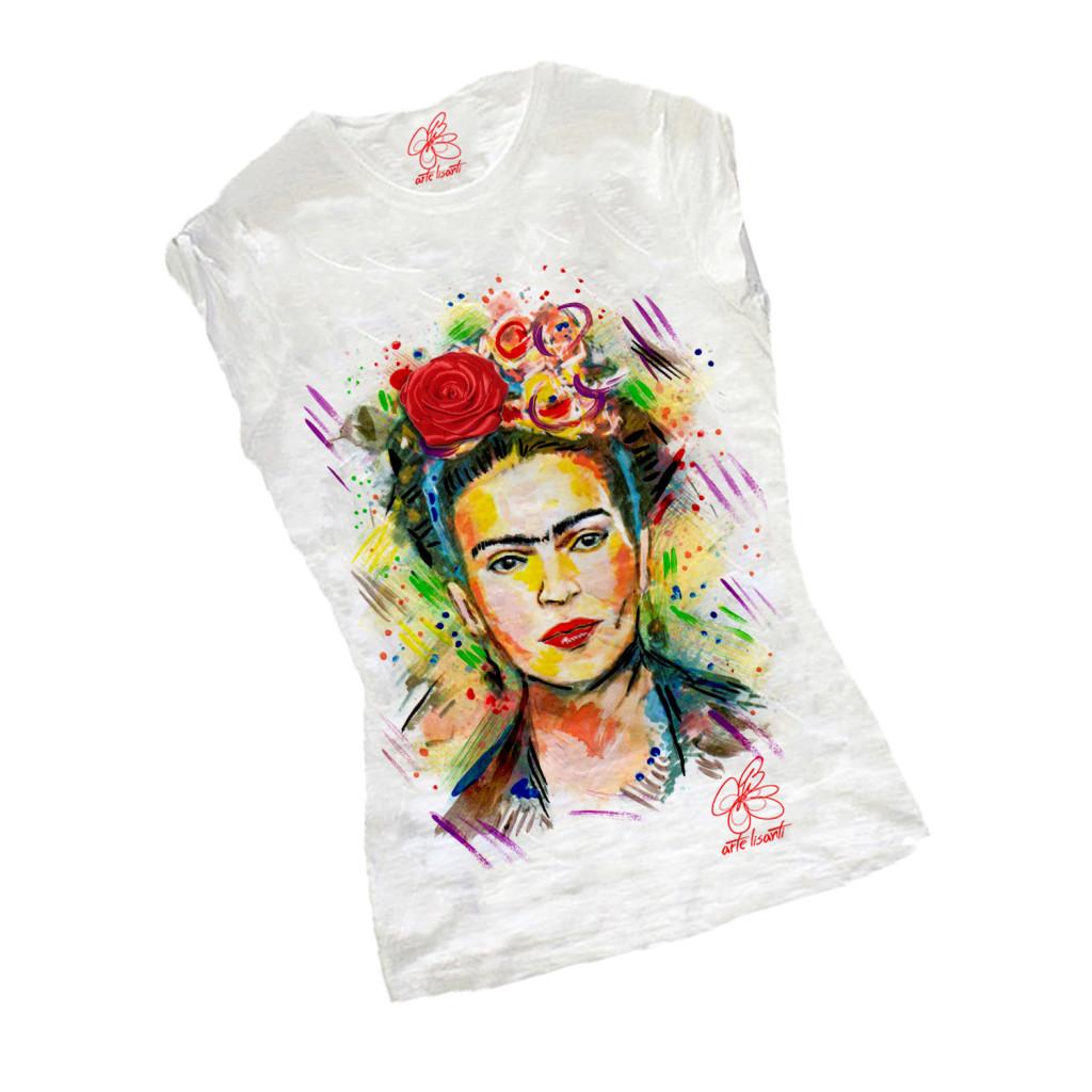 T-shirt dipinta a mano - I love Frida Kahlo