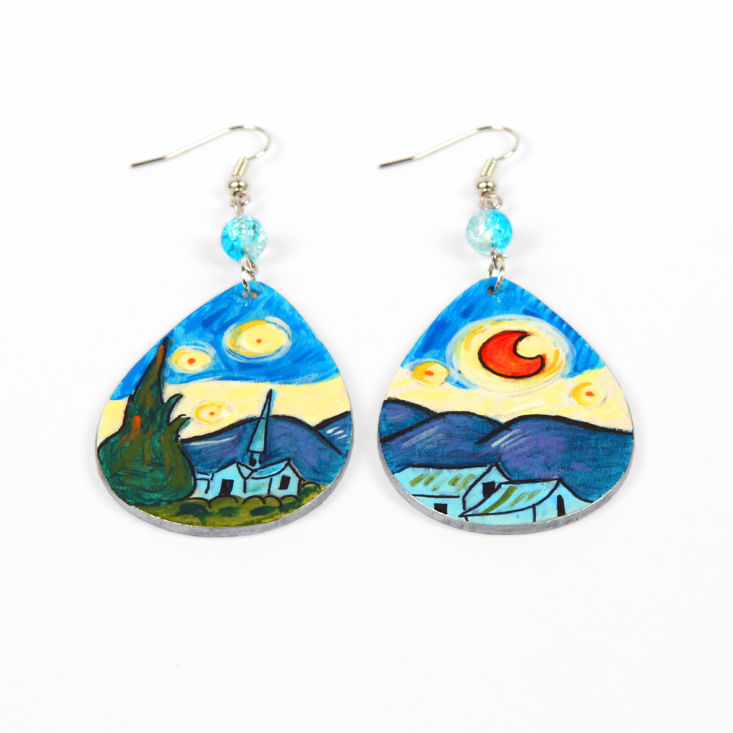Hand painted earrings - The Starry Night by Van Gogh