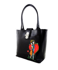 Hand-painted bag - Homage to comic books by Peynet