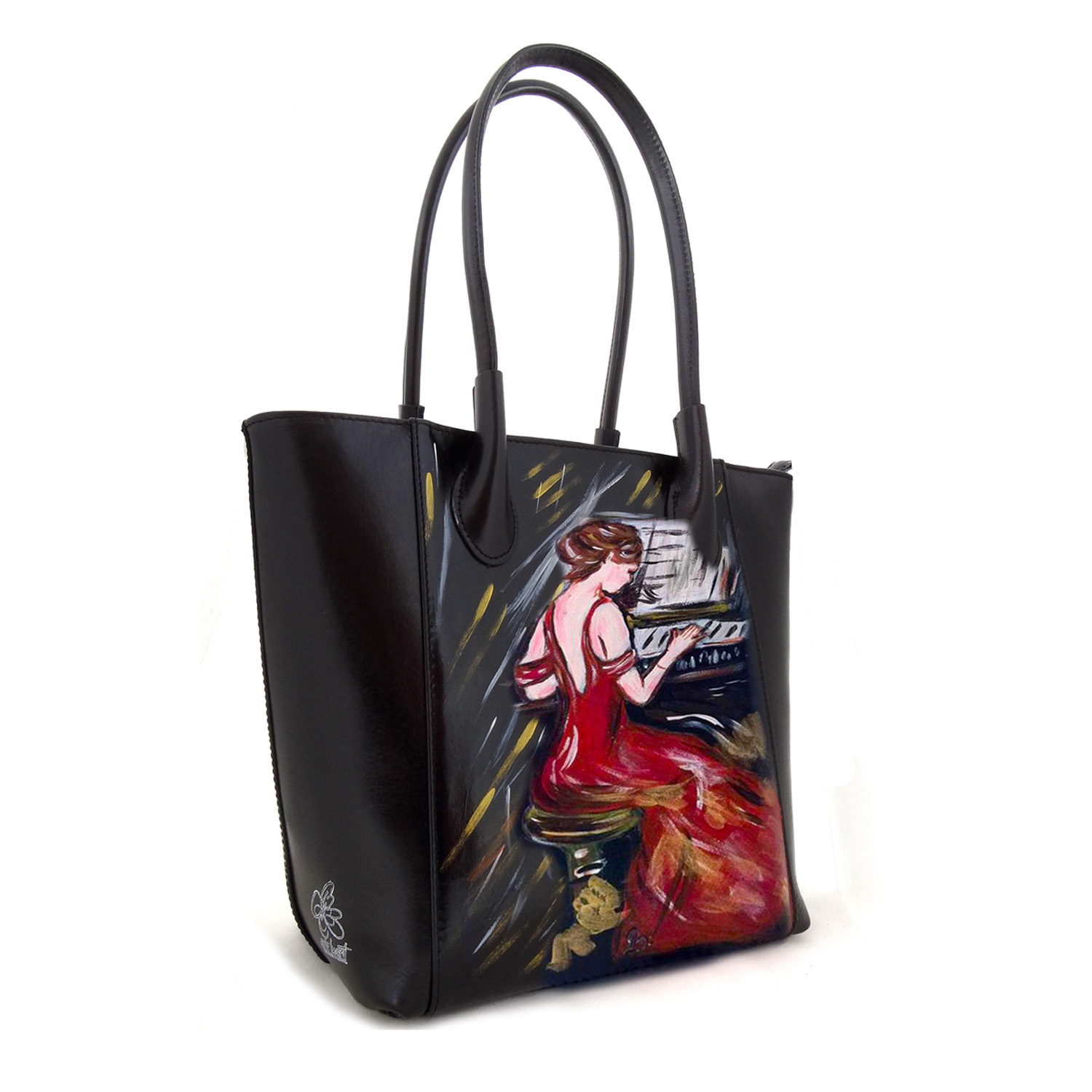 Hand-painted bag - Woman in Red by Boldini