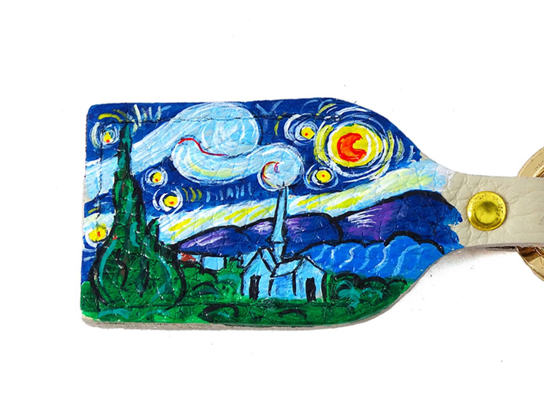 Portachiavi dipinto a mano – La notte stellata di Van Gogh