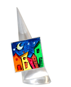 Hand-painted ring - Cartoon city night