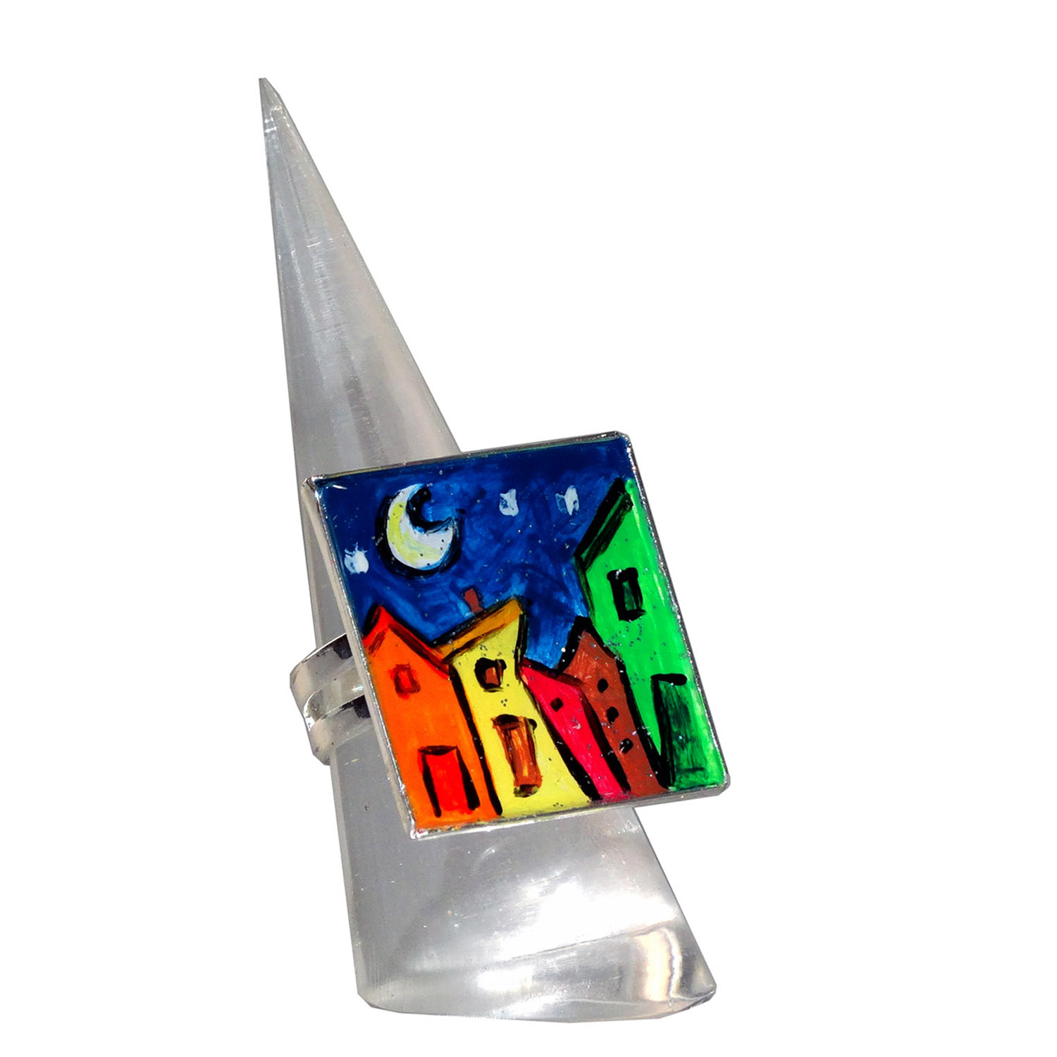 Anello dipinto a mano – Cartoon city night