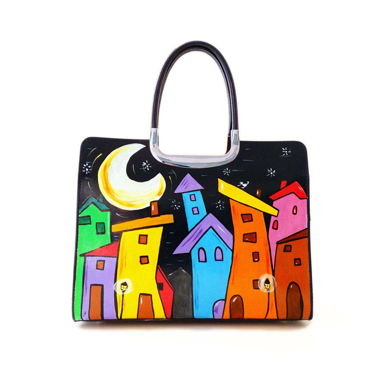 Handpainted bag - Cartoon City Night