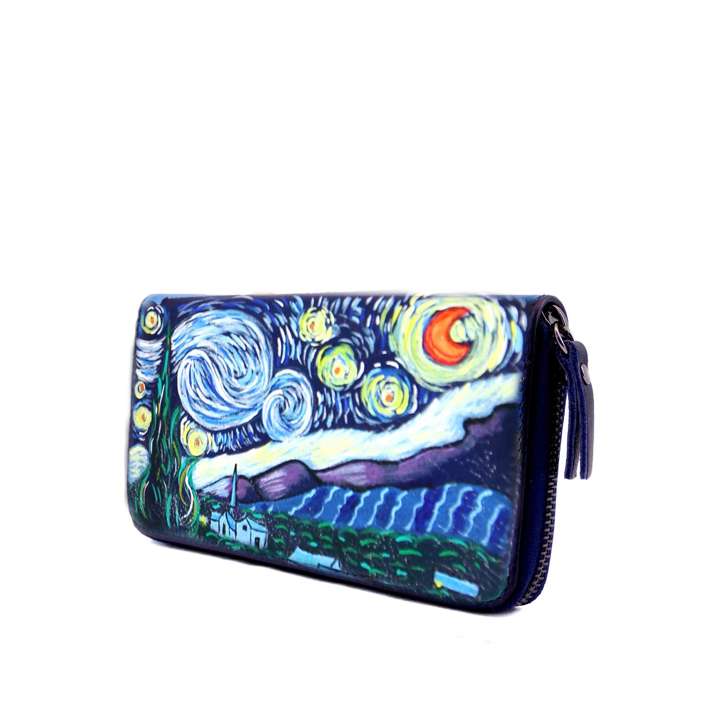Portafoglio dipinto a mano – La notte stellata di Van Gogh