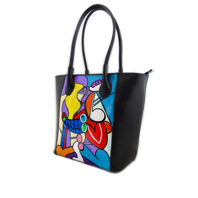 Borsa dipinta a mano – Nudo con natura morta di Picasso