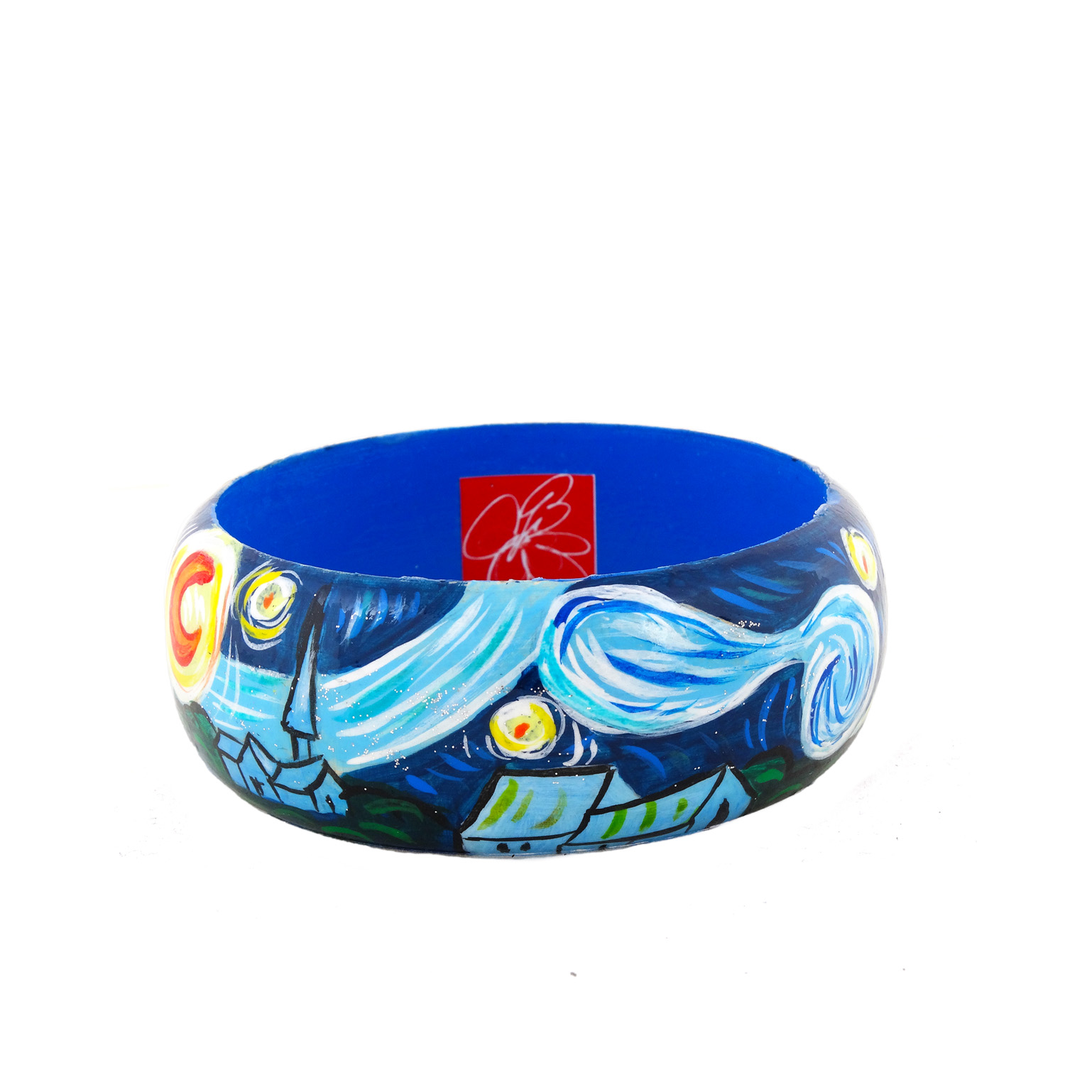 Hand-painted bangle - The Starry Night by Van Gogh