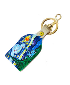 Hand painted keyring - The Starry Night by Van Gogh