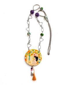 Collana dipinta a mano - Madre e figlio di Klimt