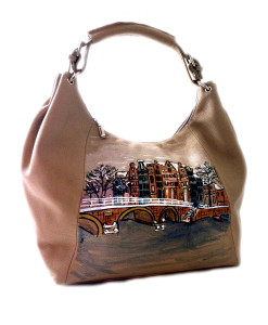 Hand-painted bag - White Amsterdam