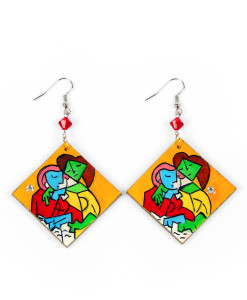 Hand painted earrings - Two Girls Reading by Picasso