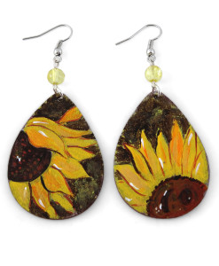 Hand painted earrings - Sunflowers
