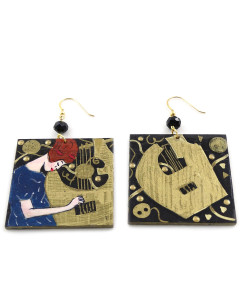 Hand-painted earrings - The Music by Klimt