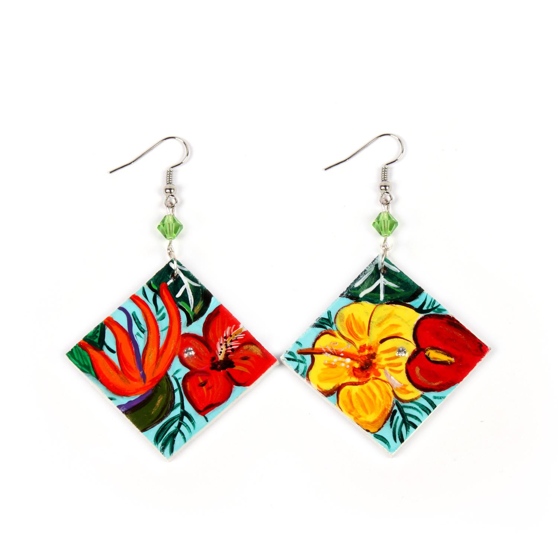 Hand painted earrings - Paradise