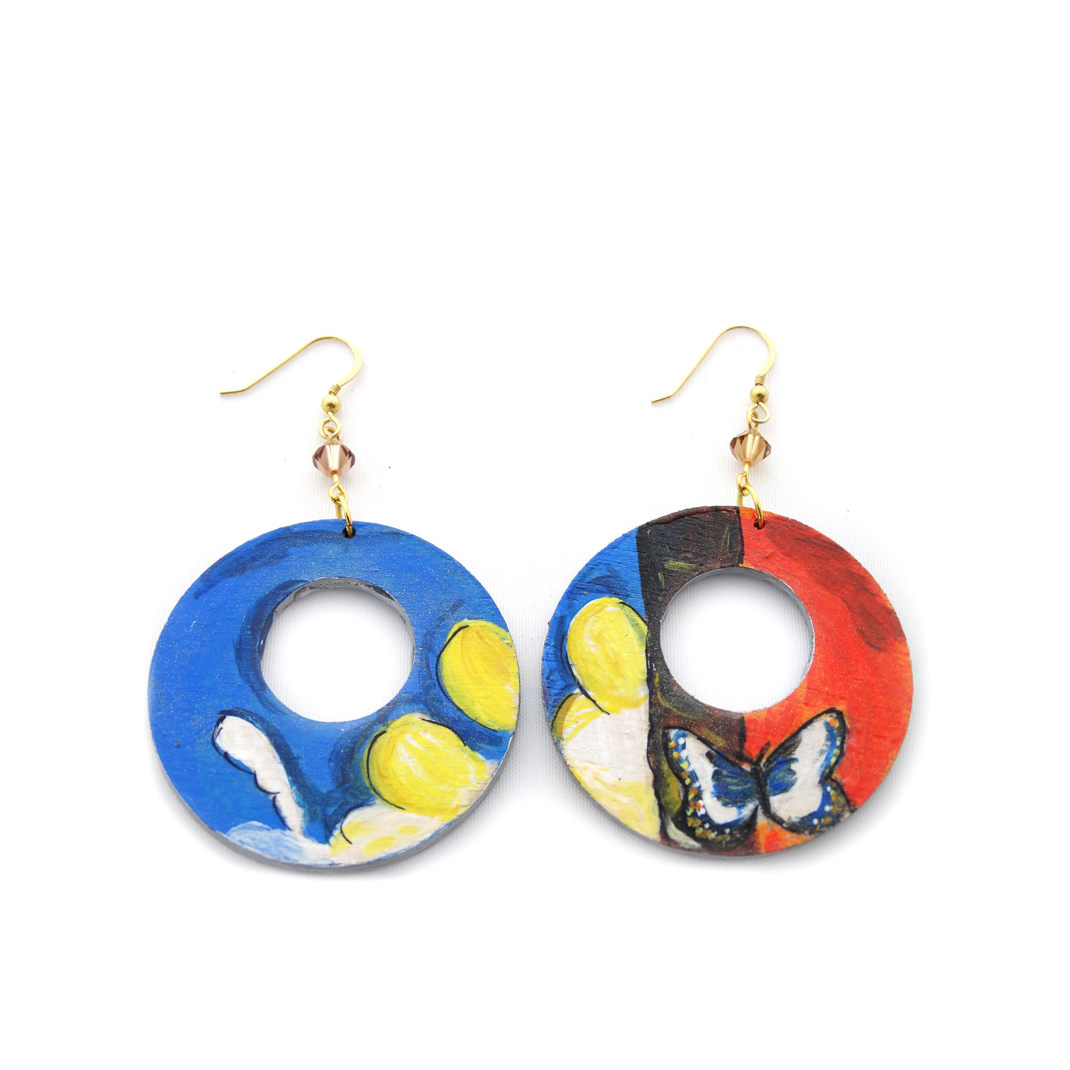 Hand-painted earrings - Landscape with Butterflies by Dali