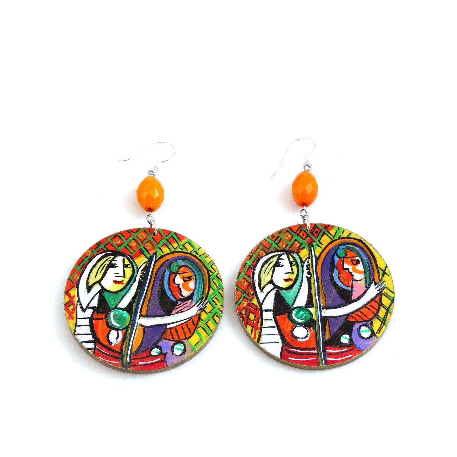 Hand-painted earrings - Girl in the mirror by Picasso