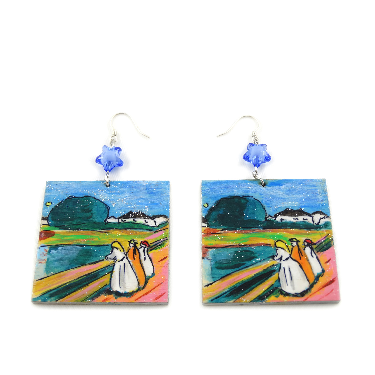 Hand-painted earrings - Girls on the bridge by Munch