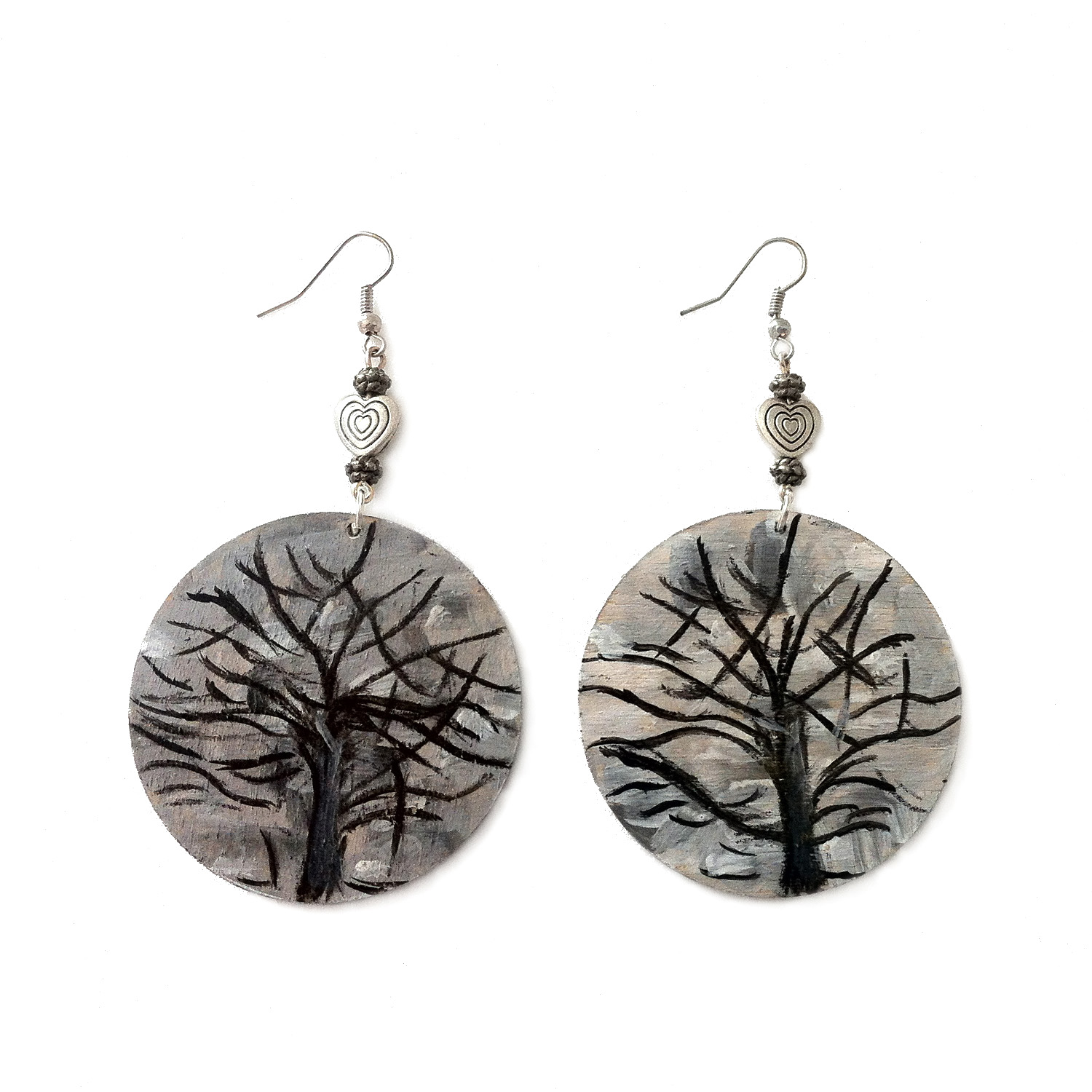 Hand-painted earrings - The silver tree by Mondrian