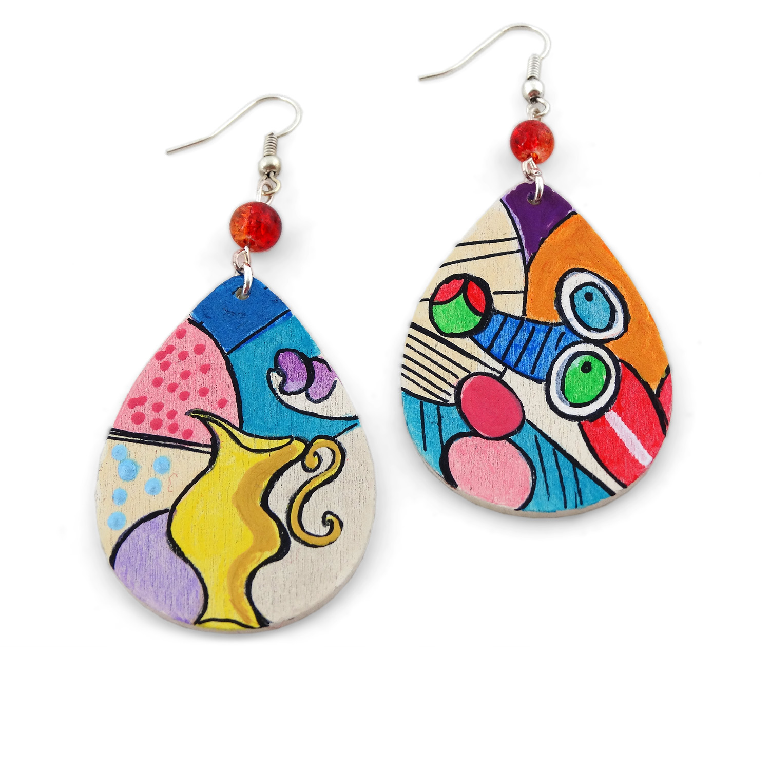 Hand painted earrings - Nude with still life by Picasso