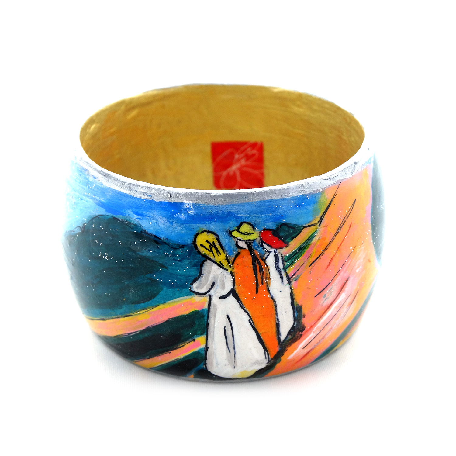 Hand-painted bangle - Girls on the bridge by Munch