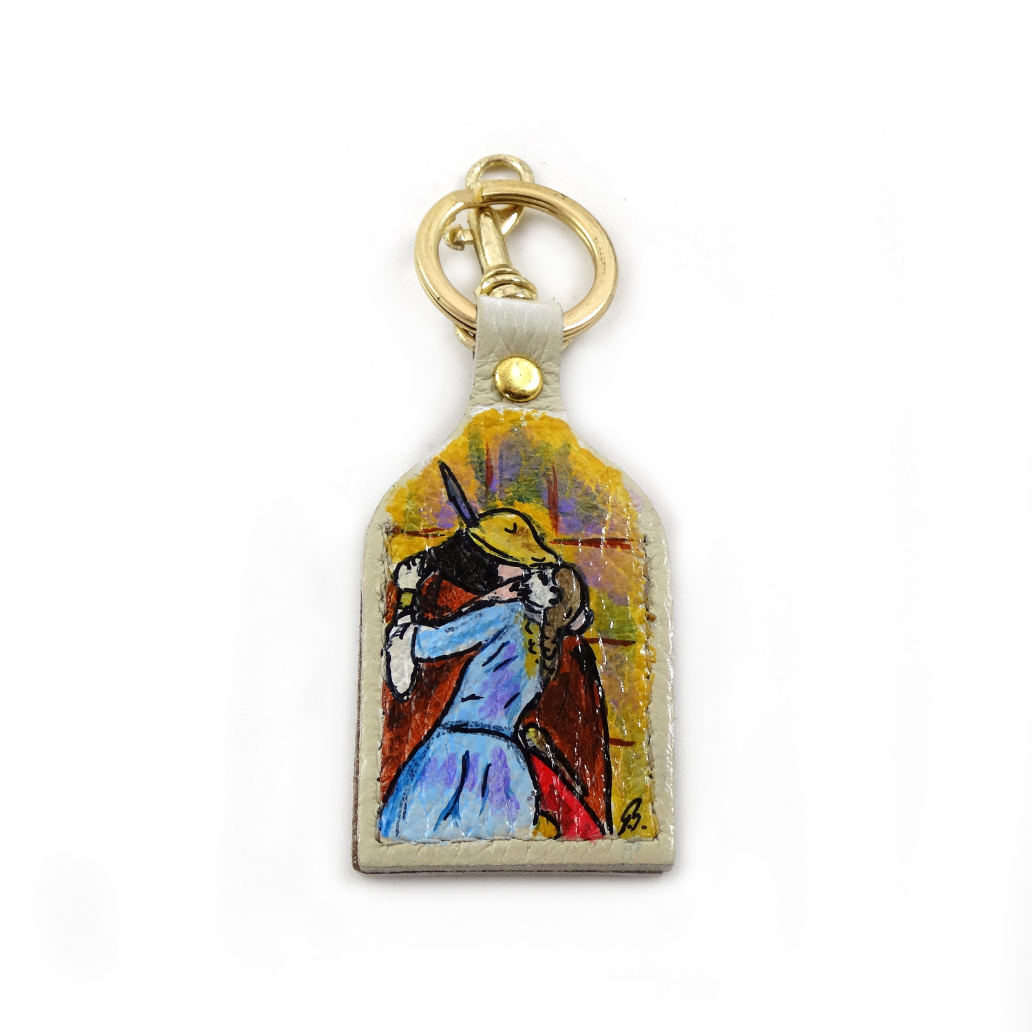 Hand painted keychain - The Kiss by Hayez