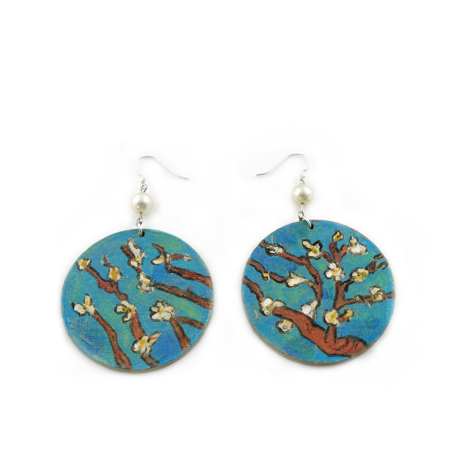 Hand-painted earrings - The almond by Van Gogh