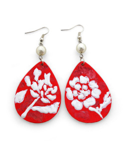 Hand-painted earrings - White on red