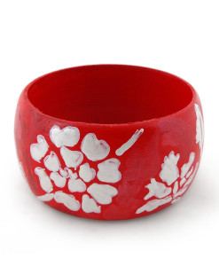 Hand-painted bangle - White on red