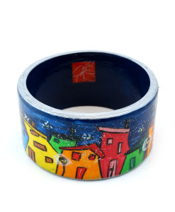 Hand-painted bangle - Cartoon city night
