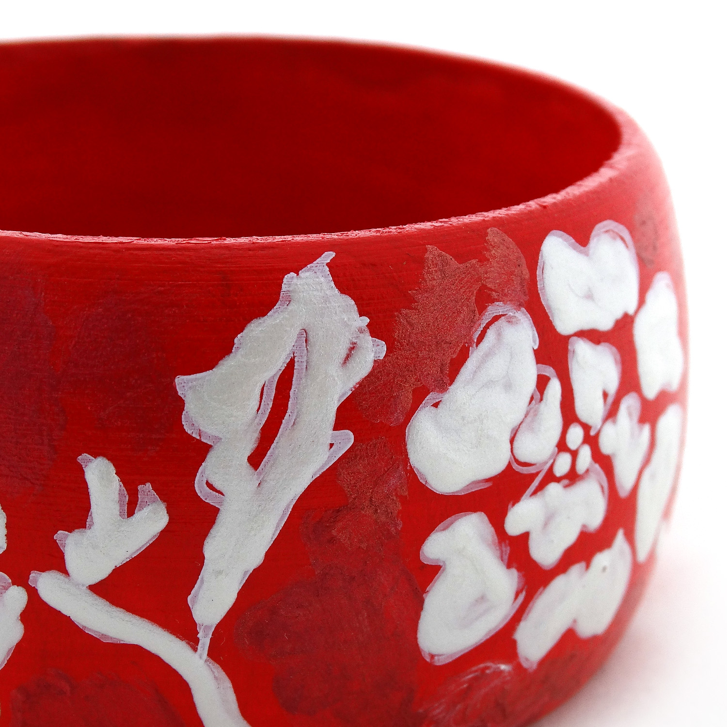 Bracciale dipinto a mano – White on red