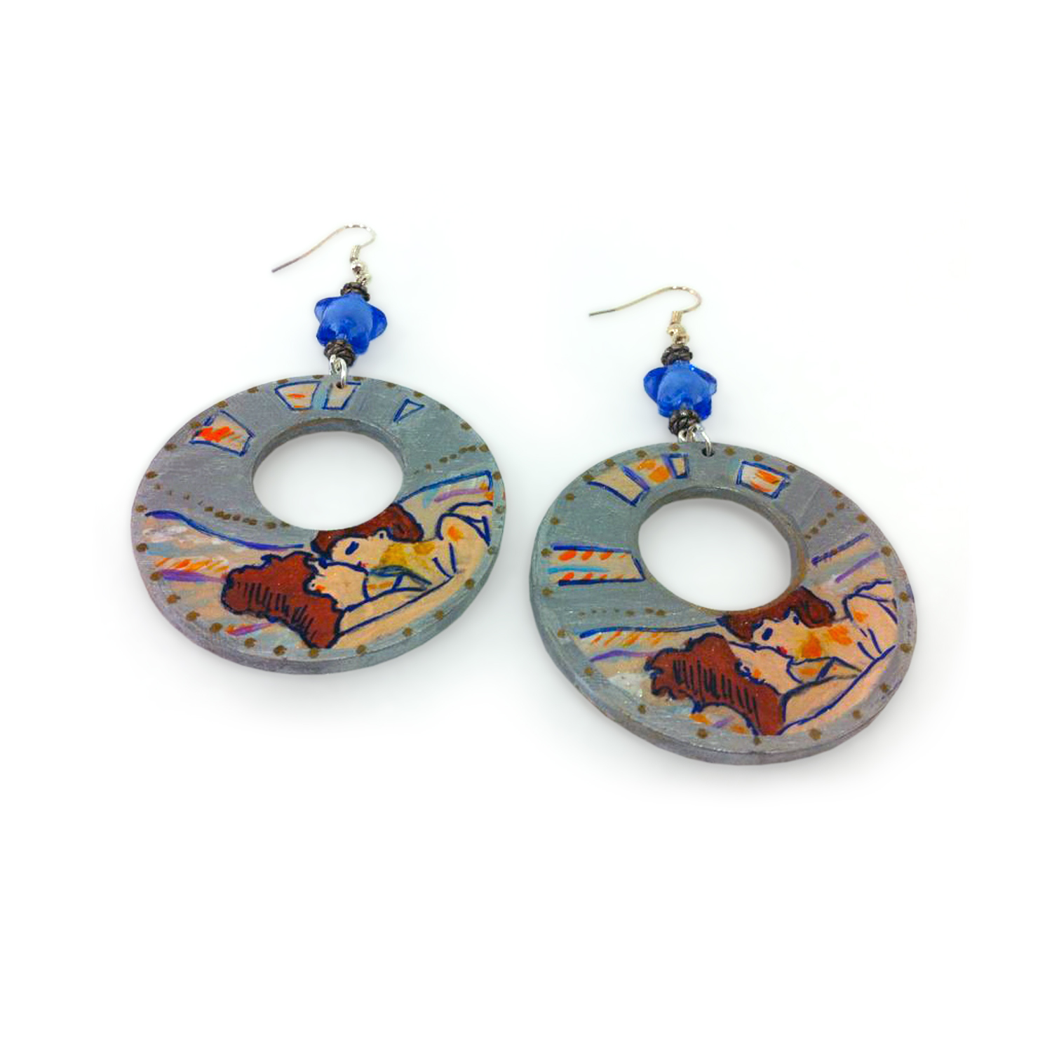 Hand painted earrings - Lovers by Toulouse Lautrec