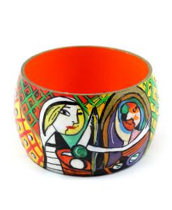Bracciale dipinto a mano – Ragazza allo specchio di Picasso
