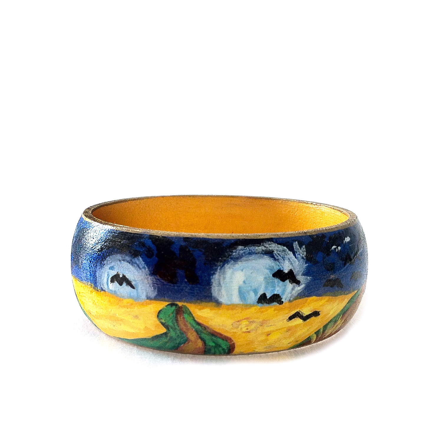Hand-painted bangle - Wheatfield with flight of crows by Van Gogh