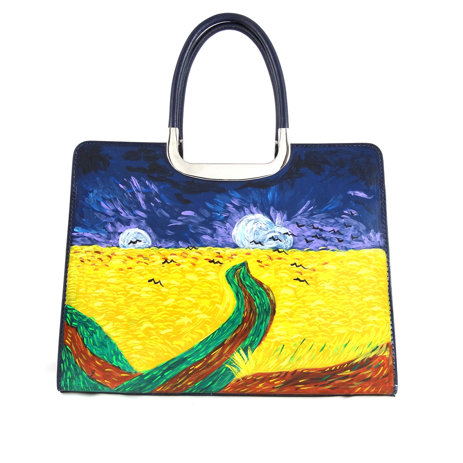 Hand painted bag - Wheatfield with Crows by Van Gogh