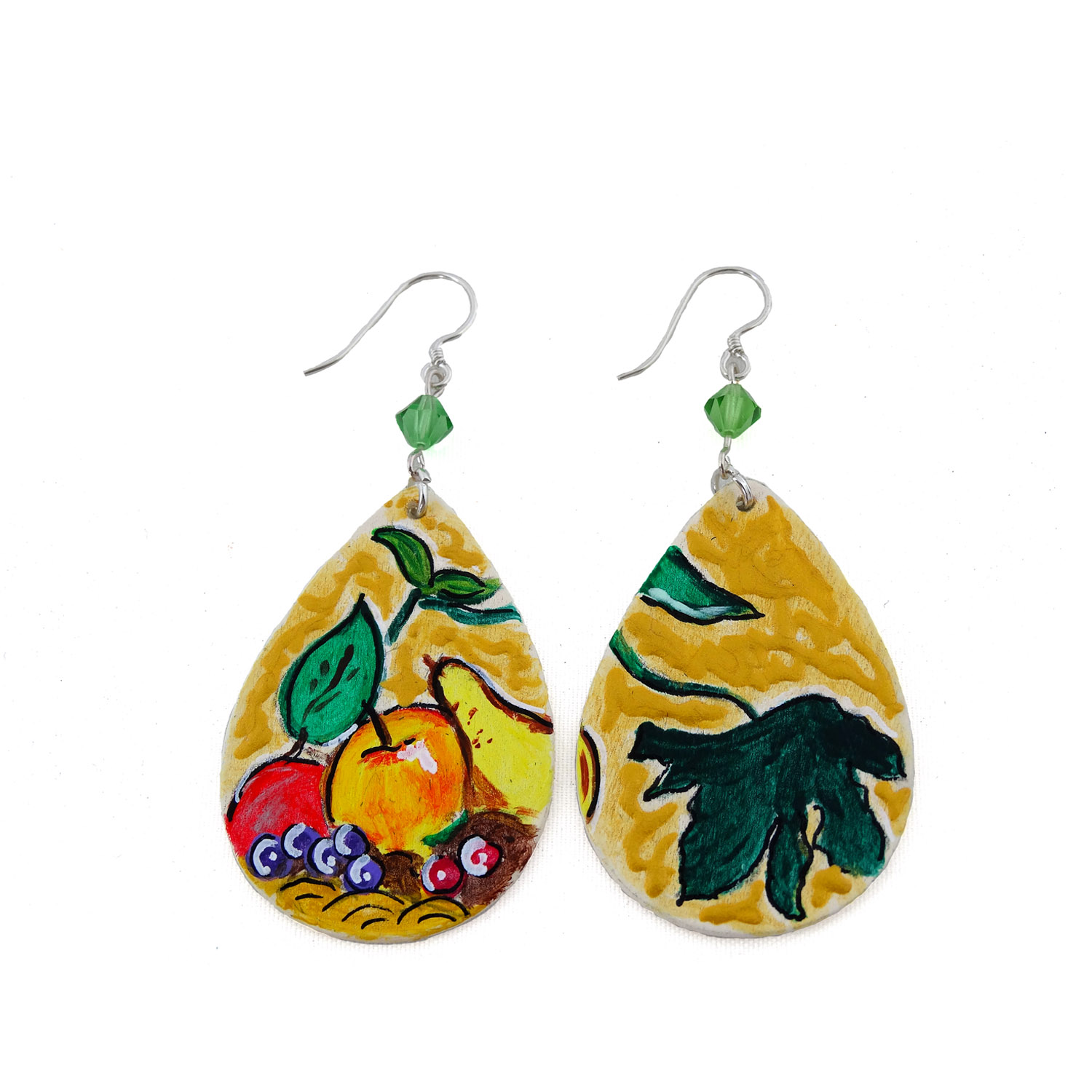 Hand-painted earrings - Basket of Fruit by Caravaggio