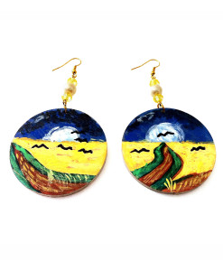 Hand-painted earrings - Wheatfield with Crows flight by Van Gogh