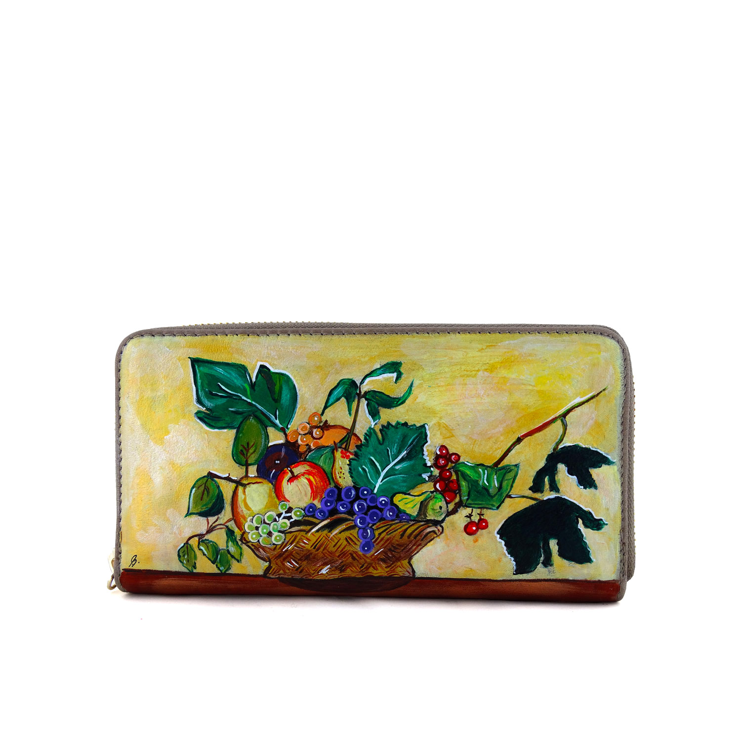 Hand painted wallet - Basket of Fruit by Caravaggio
