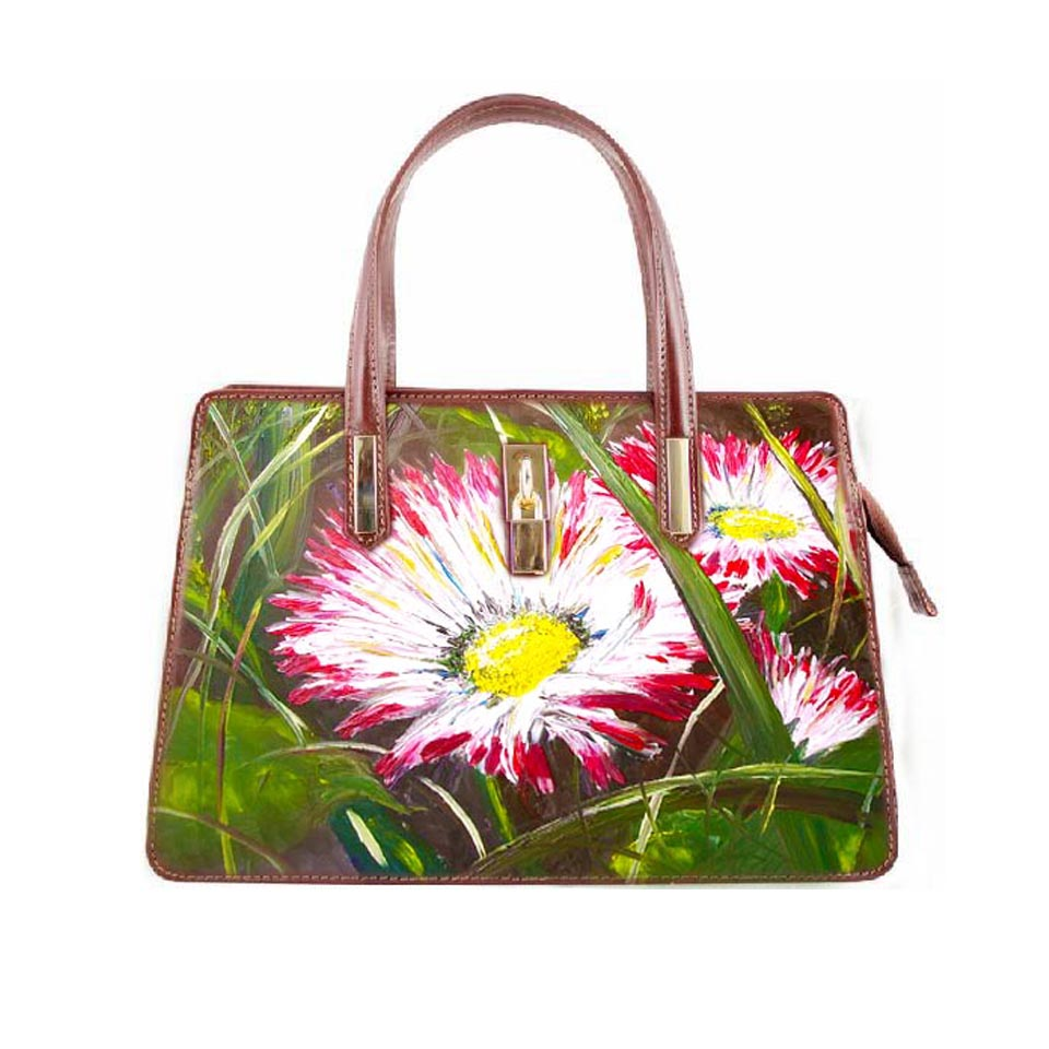 Hand-painted bag - Field Daisies