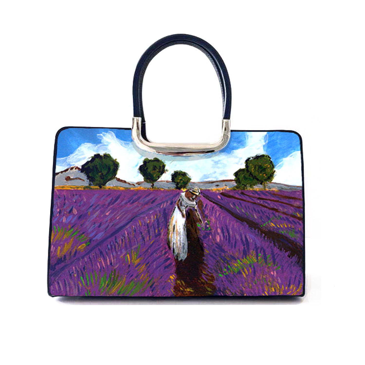 Hand-painted bag - Lavender in Provence