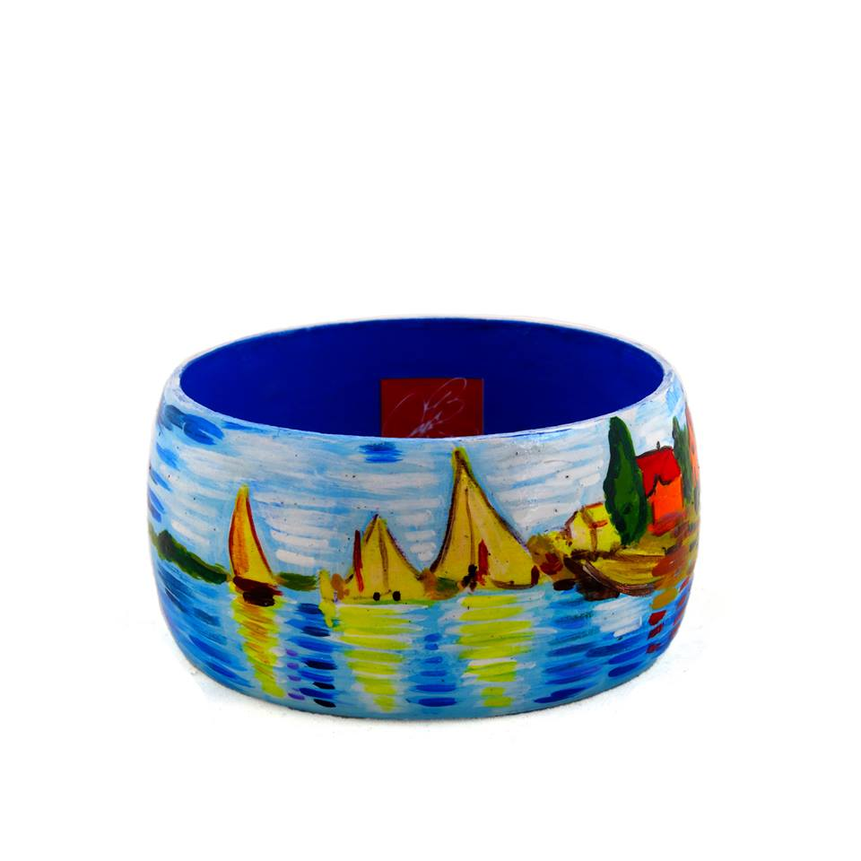 Hand-painted bangle - Regatta at Argenteuil by Monet