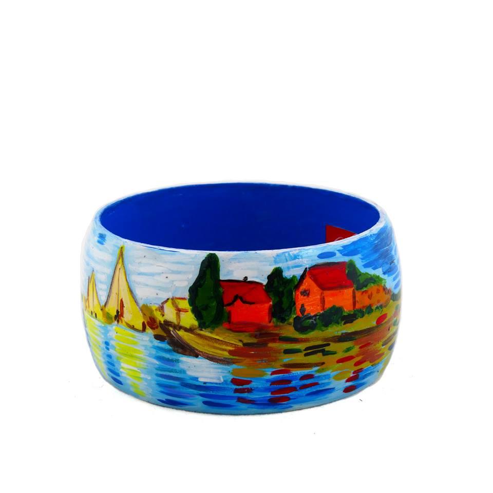 Bracciale dipinto a mano – Regate ad Argenteuil di Monet