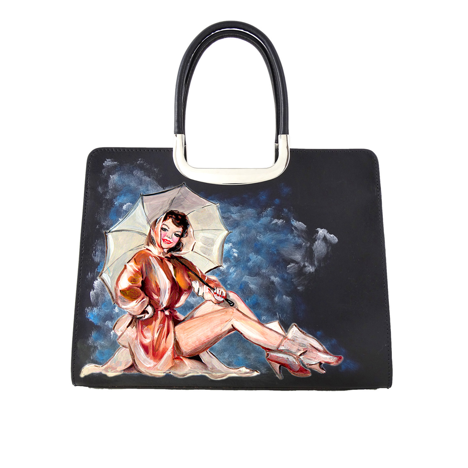 Borsa dipinta a mano – Girl with umbrella