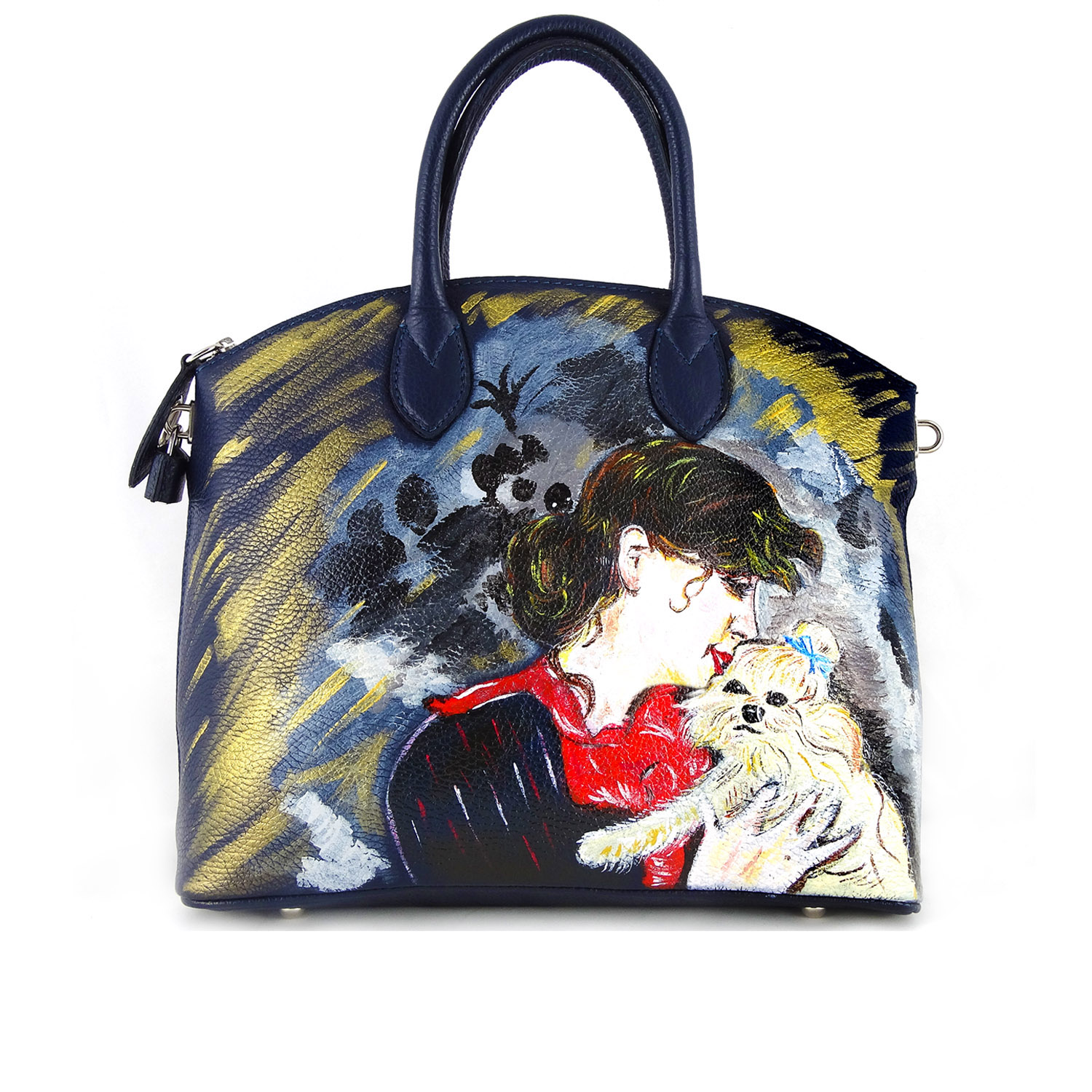 Hand painted bag - Portrait of Madame Rejane by Boldini