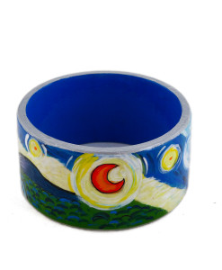 Hand-painted bangle - Starry Night by Van Gogh