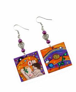 Orecchini dipinti a mano – Madre e figlio di Klimt