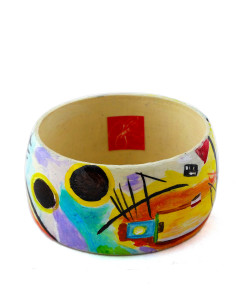 Hand-painted bangle - Blue, yellow, red by Kandinskij
