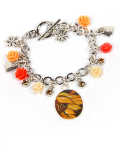 Hand-painted bangle - Sunflowers