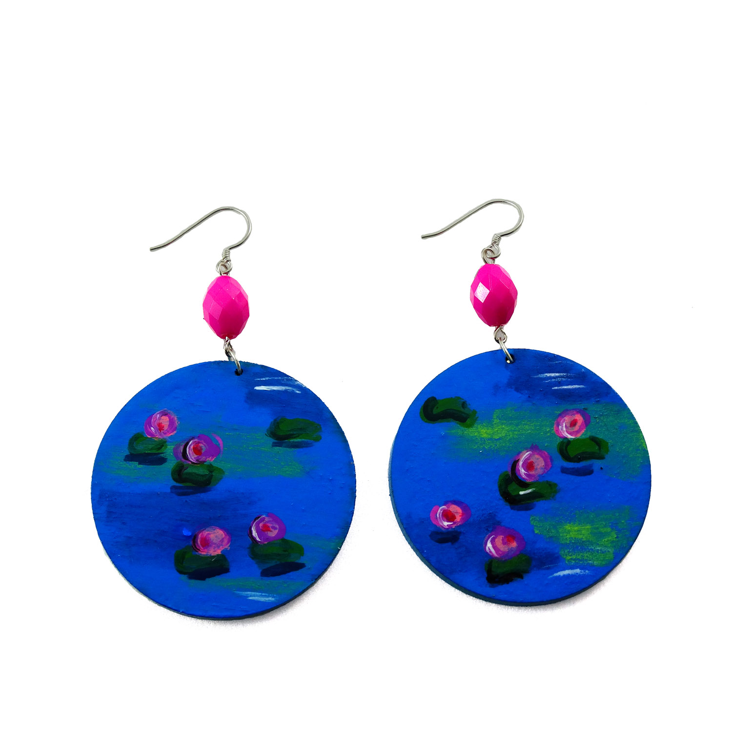 Hand-painted earrings - The water lilies by Monet