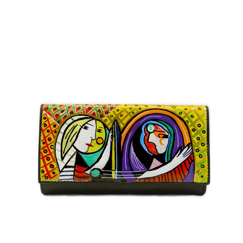 Portafoglio dipinto a mano – Ragazza allo specchio di Picasso